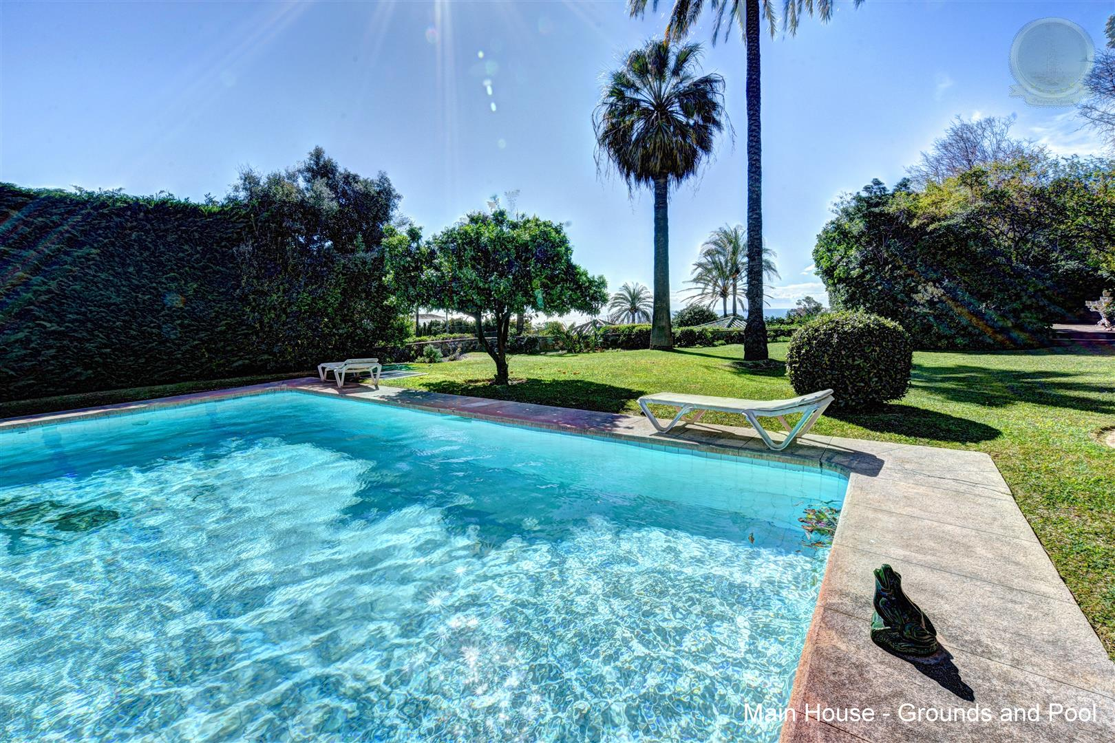 Villa in Rancho Domingo for Sale front pool and garden